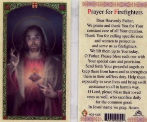 Prayer for Firefighters Holy Card Laminate