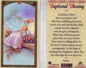 Baptismal Blessing Holy Card Laminate