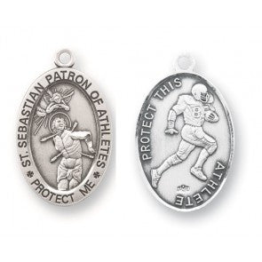 Saint Sebastian Oval Sterling Silver Football Athlete Medal
