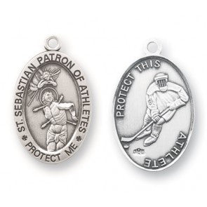 Saint Sebastian Oval Sterling Silver Hockey Athlete Medal