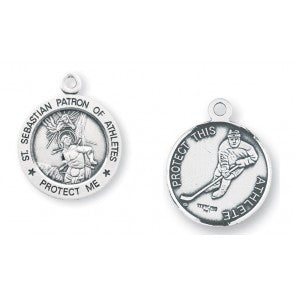 Saint Sebastian Round Sterling Silver Hockey Athlete Medal