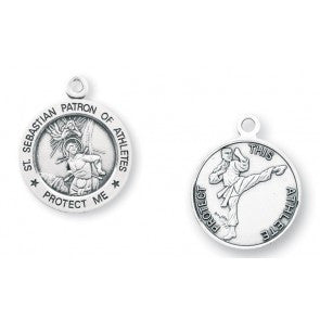 "Saint Sebastian 15/16"" Round Sterling Silver Martial Arts Athlete Medal"