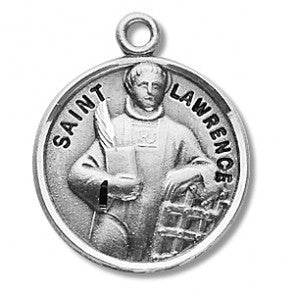 Saint Lawrence Round Sterling Silver Medal