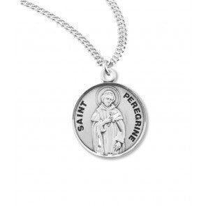 "Saint Peregrine 7/8"" Round Sterling Silver Medal"