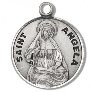 Saint Angela Round Sterling Silver Medal