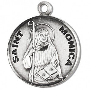 "Saint Monica 7/8"" Round Sterling Silver Medal"