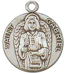 St. Gabriel Pewter Medal Necklace with Holy Card