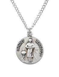 St. Genesius Sterling Silver Necklace from Jeweled Cross-Patron Saint of Actors