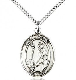 St. Dominic Oval Pewter Medal Necklace with Holy Card