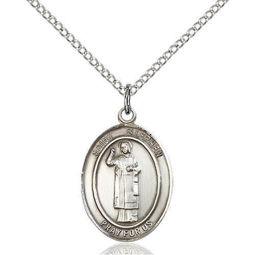 St. Stephen Oval Pewter Medal Necklace with Holy Card