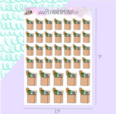Grocery Bag Planner Stickers