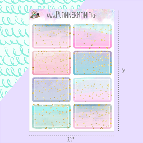 Half Box Candy Color Glitter Stickers