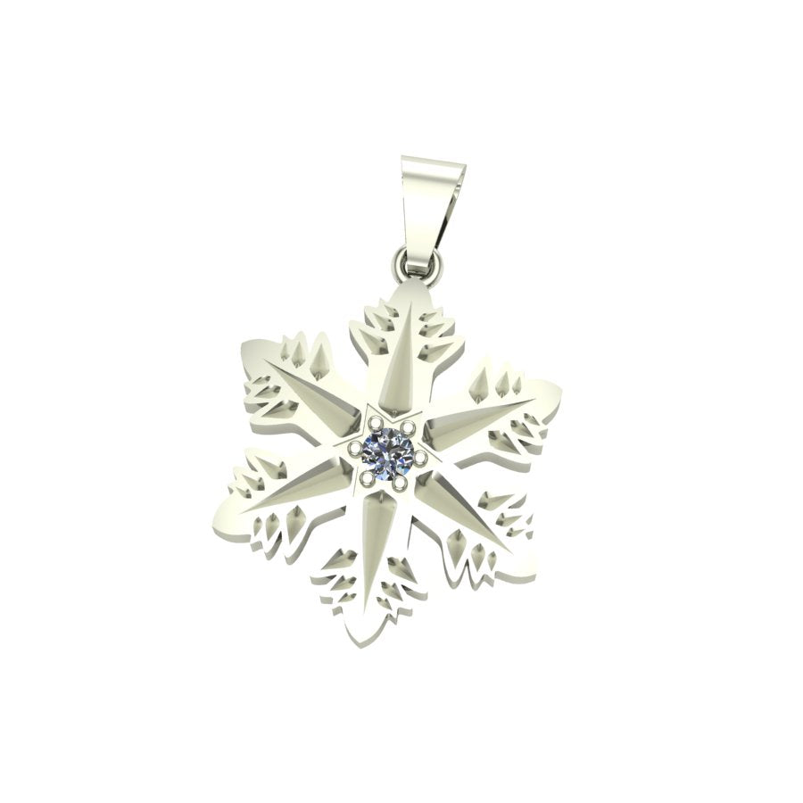 Snowflake Star Pendant with Diamond
