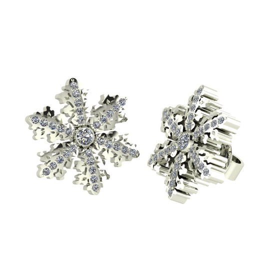 Snowflake Organic Diamond Earrings