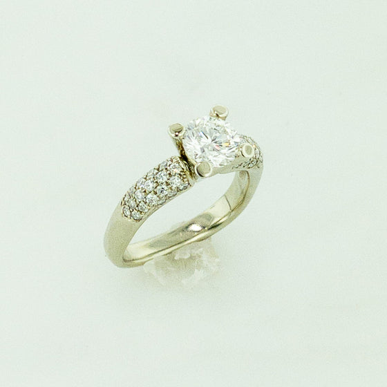 18KW Diamond Ring with Pave Band