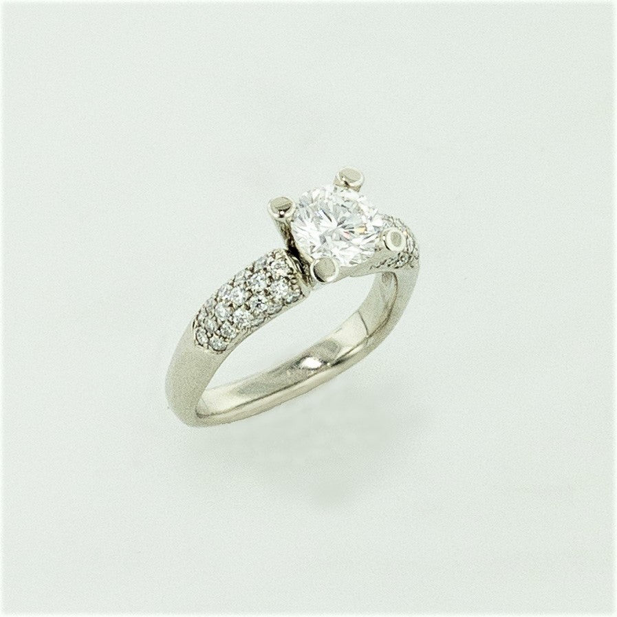 18KW Diamond Ring with Pave Diamond Accents