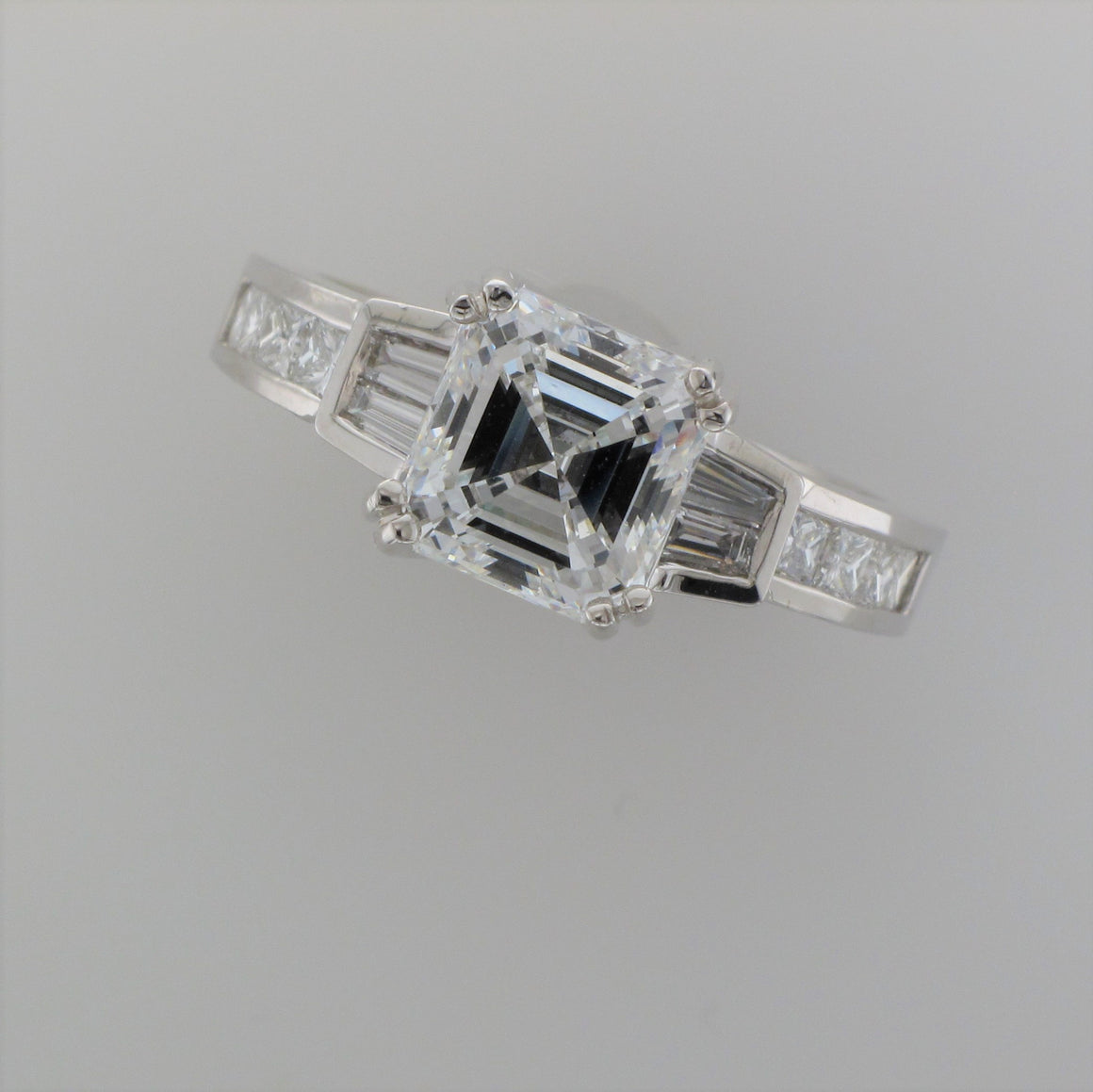18KW Asscher Diamond Ring with Diamond Band