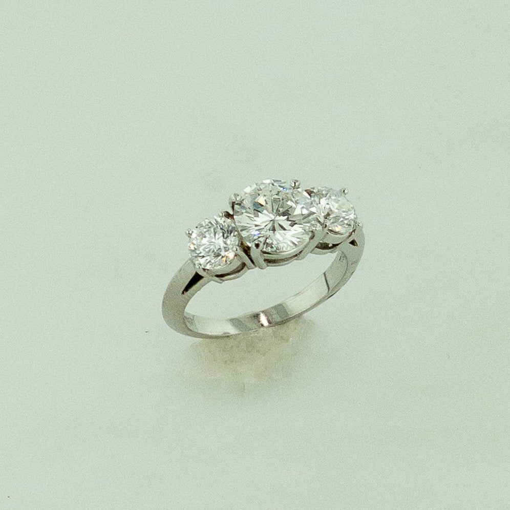 Platinum Round Brilliant Cut Tri-stone Diamond Ring