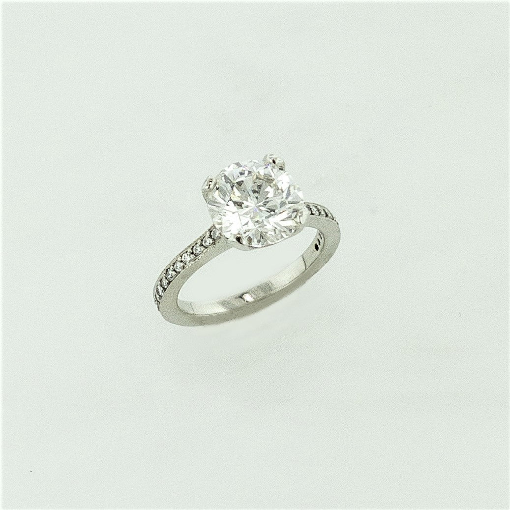 18KW Round Brilliant Diamond Ring w/ Diamond Accents