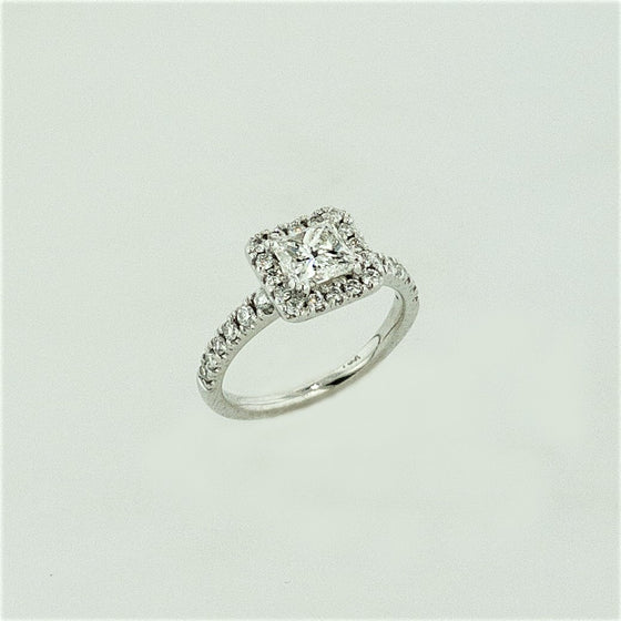 18KW Princess Cut Diamond Ring w/ Diamond Accents
