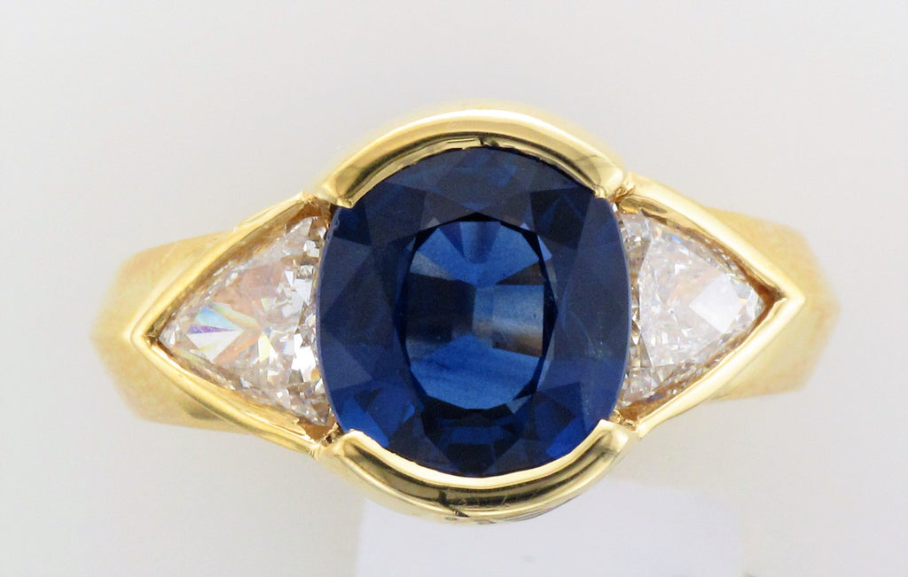 18KY Sapphire and Diamond Ring