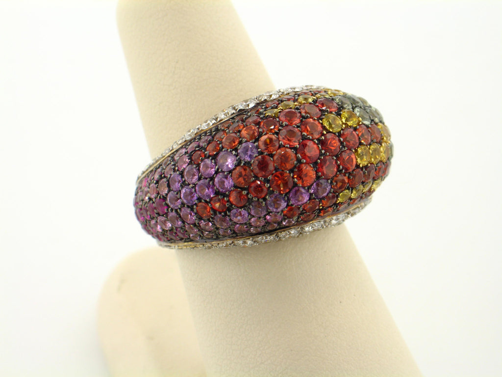 18KY MULTI COLOR SAPPHIRE AND DIAMOND RING