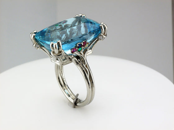 18KW Aquamarine Ring with Diamond, Sapphire, Ruby and Emerald Accents