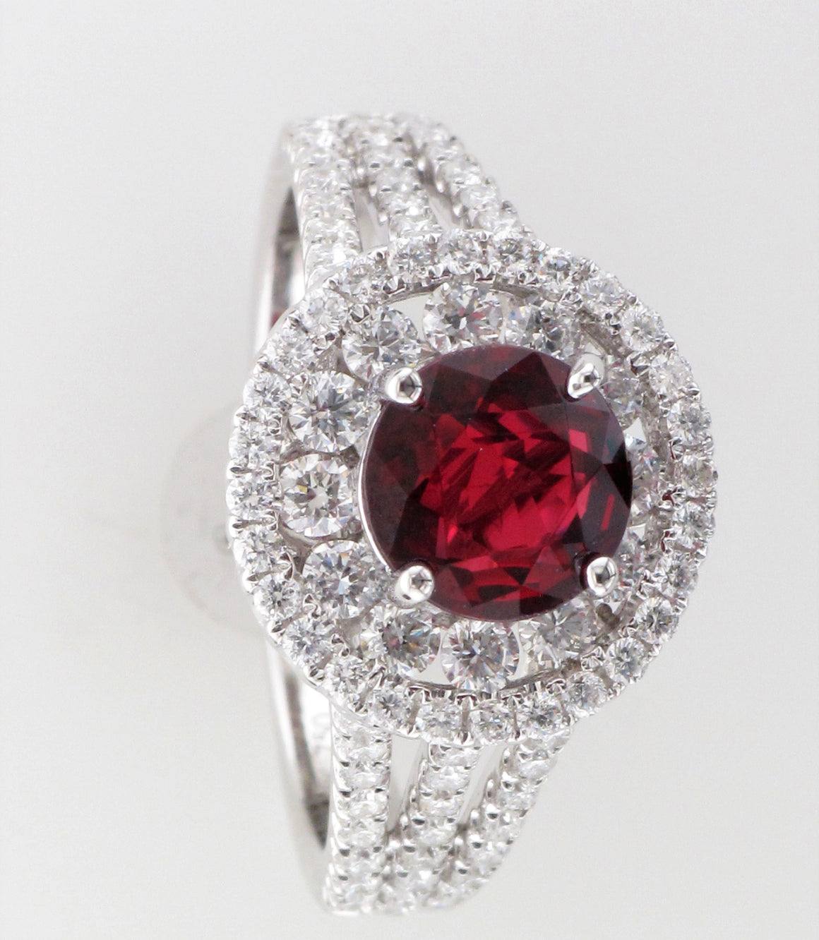 18KW Ruby with Diamond Halo Ring