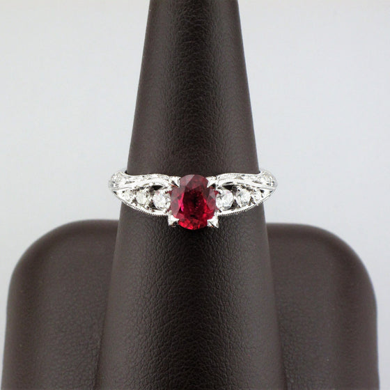18KW Ruby Solitaire with Diamond Accents