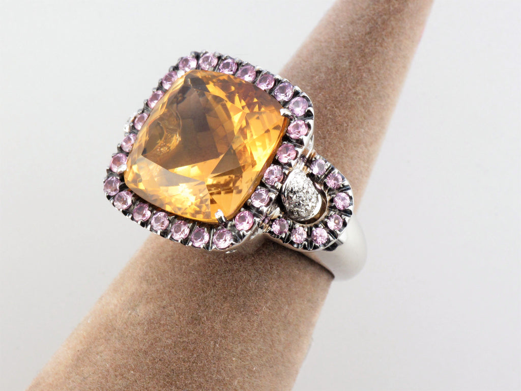 18KW Citrine and Pink Sapphire Ring