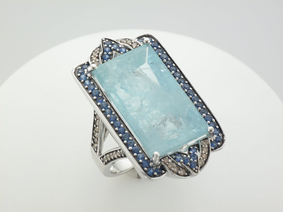 18KW Aquamarine Ring with Sapphire and Diamond Accents