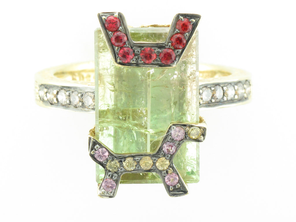 Robert Wander Green Tourmaline Ring with sapphire and Diamond Accents