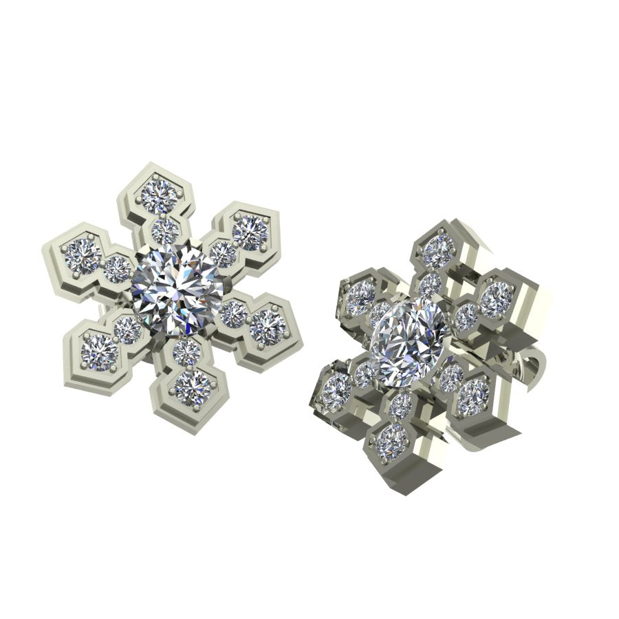 Snowflake Hexagonal Earrings