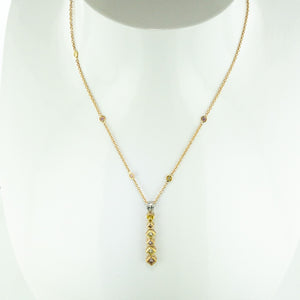 Gold Pink and Yellow Diamond Necklace