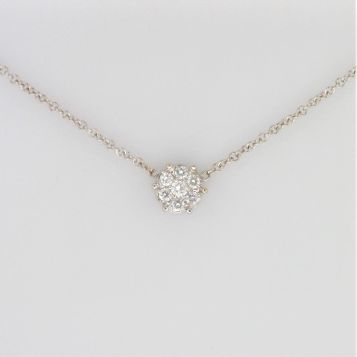 18KW Diamond Station Necklace