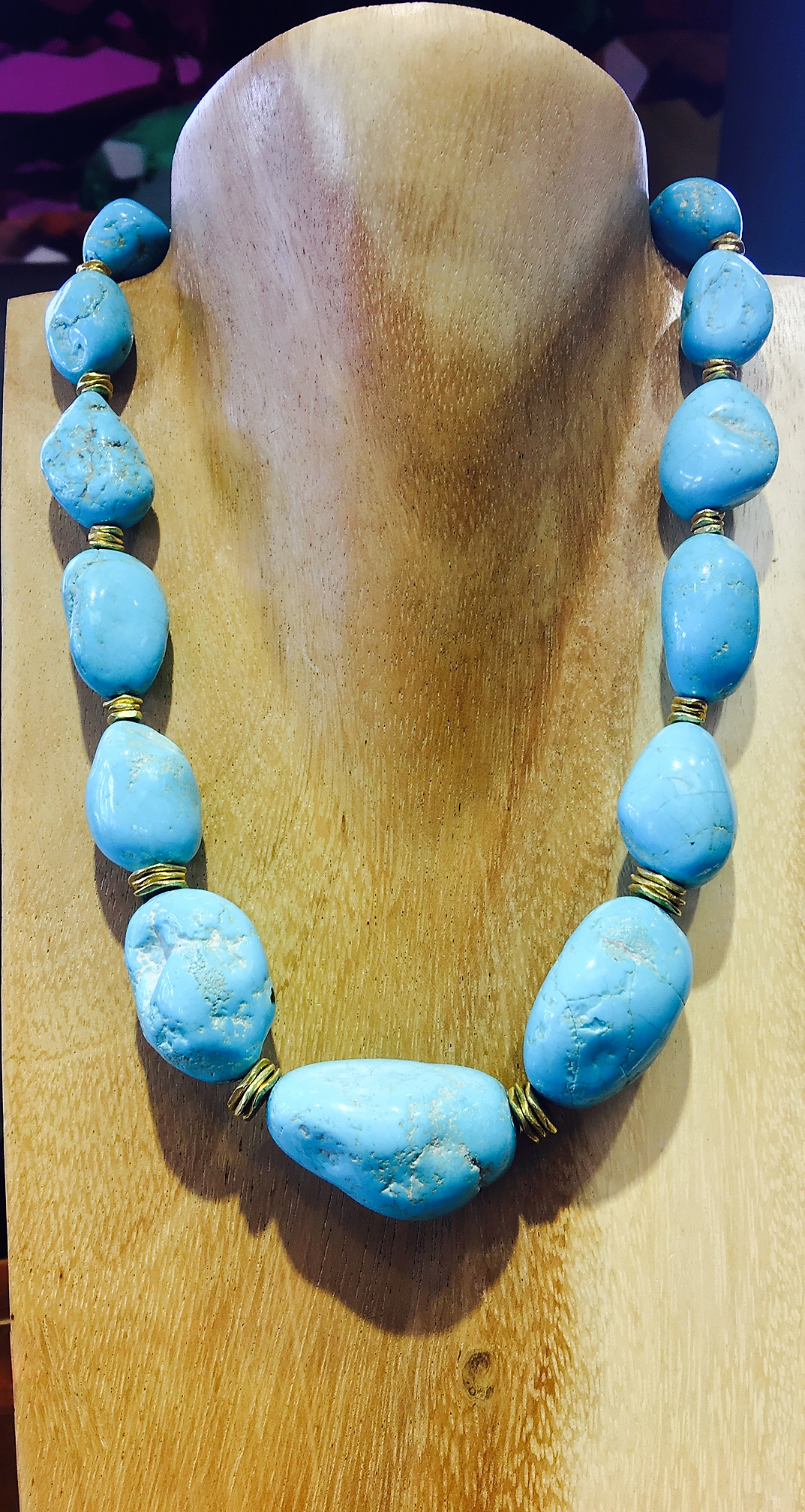 18KY Turquoise Nugget Necklace