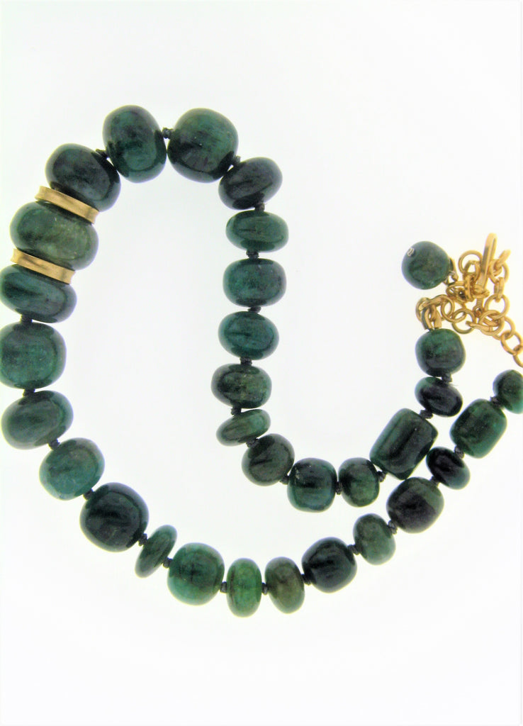 18KY Emerald Nugget Necklace
