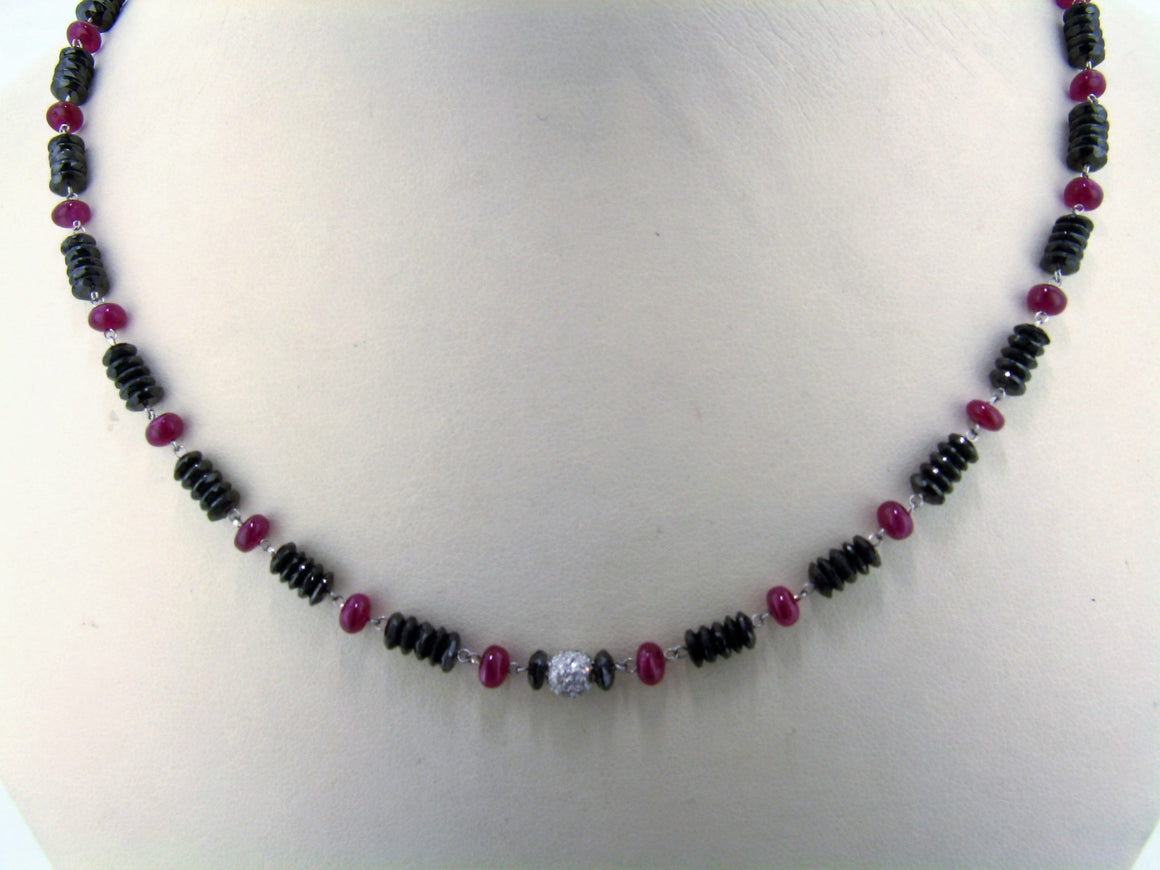 Black Rondel Diamond and Ruby Beads Necklaces
