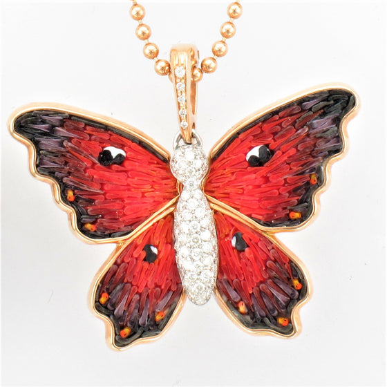 18KR Diamond Micro Mosaic Butterfly Necklace