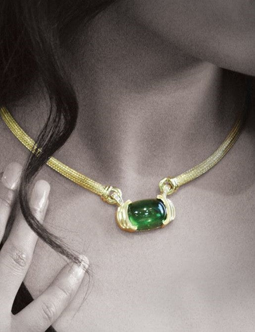 Tourmaline and Diamond Pendant Necklace