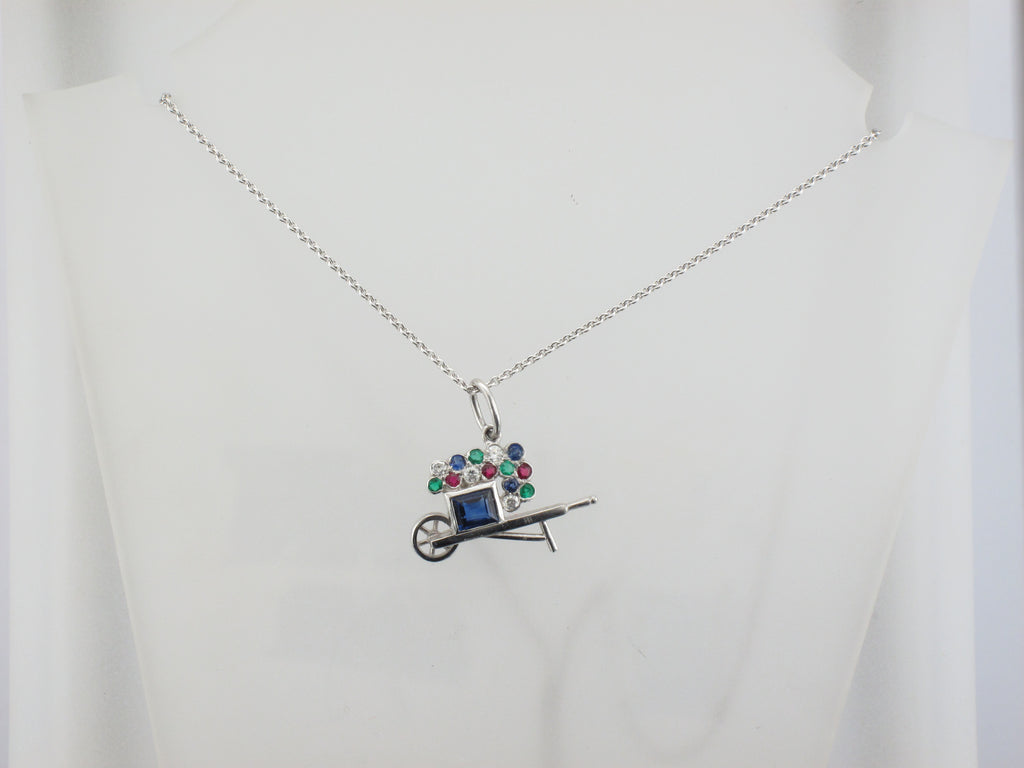 Platinum Wheelbarrow Pendant with Multi-colored Stones