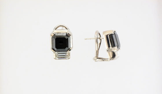 18KW Black and White Diamond Earrings