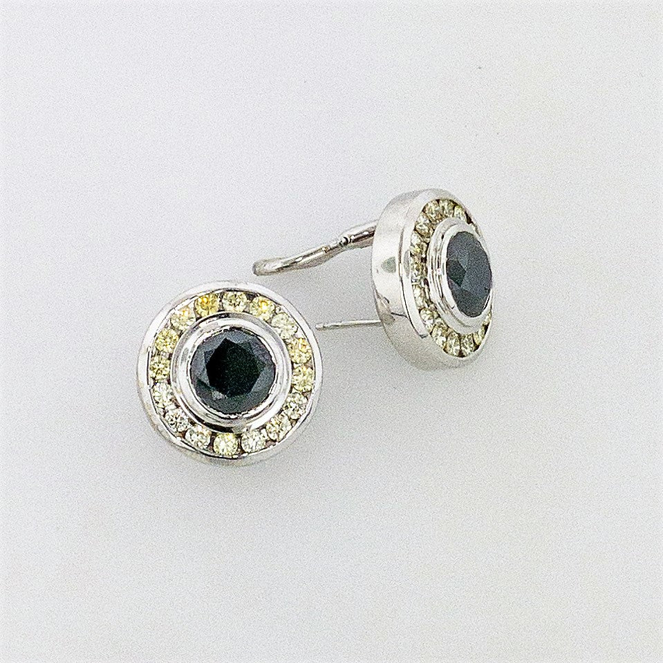 18KW Black and Yellow Diamond Earrings