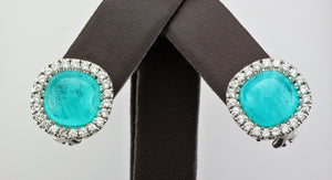18KW Paraiba Tourmaline and Diamond Earrings