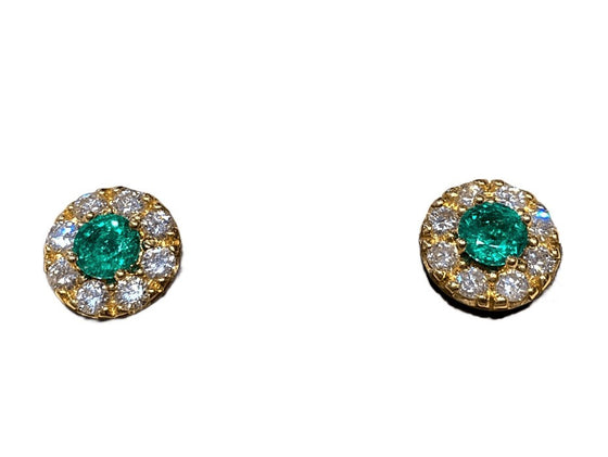 18KY EMERALD STUDS WITH DIAMOND HALO