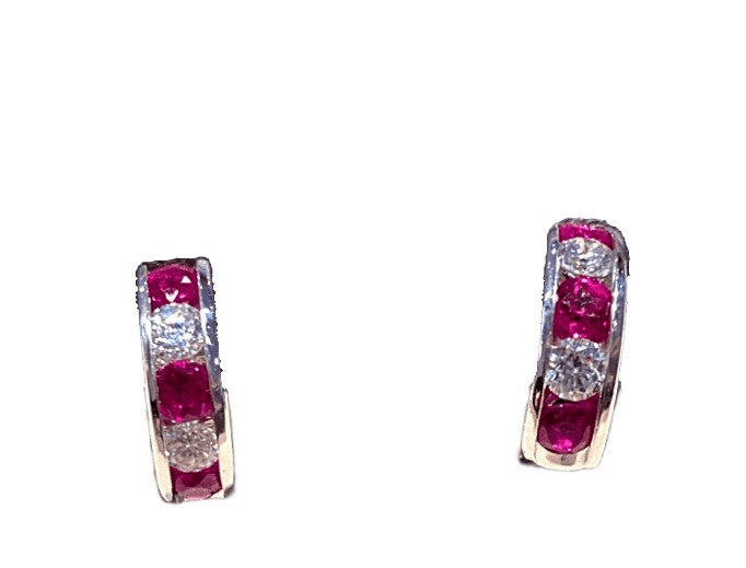 18KW RUBY AND DIAMOND HALF MOON HUGGIE STUDS