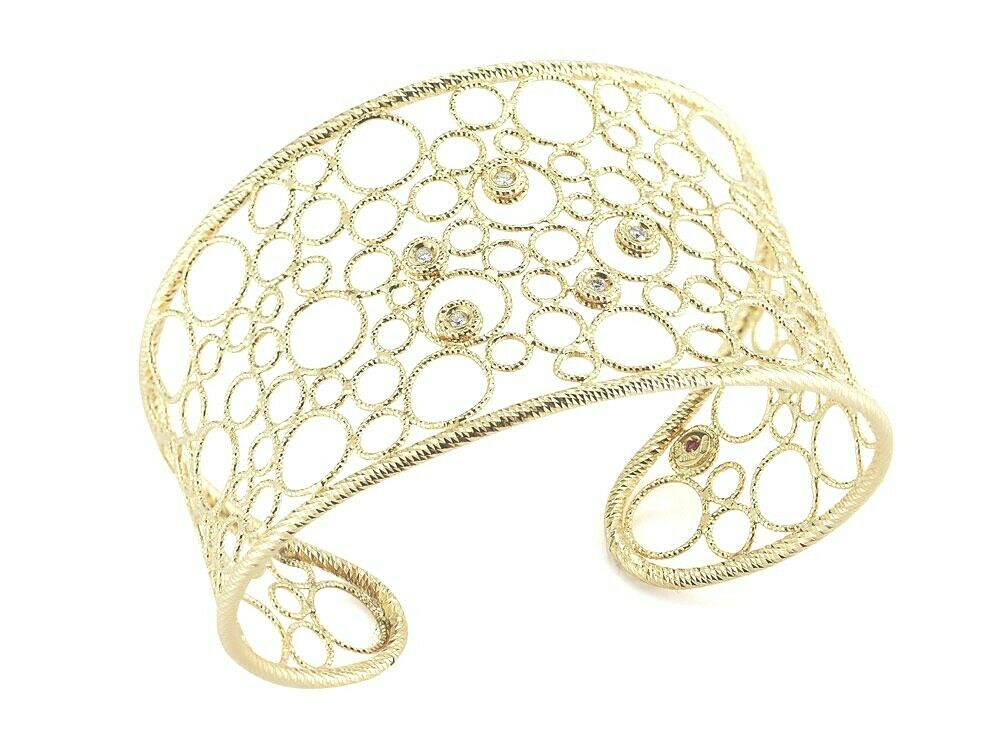 Roberto Coin 18KY Cuff Bracelet with Diamond Accents