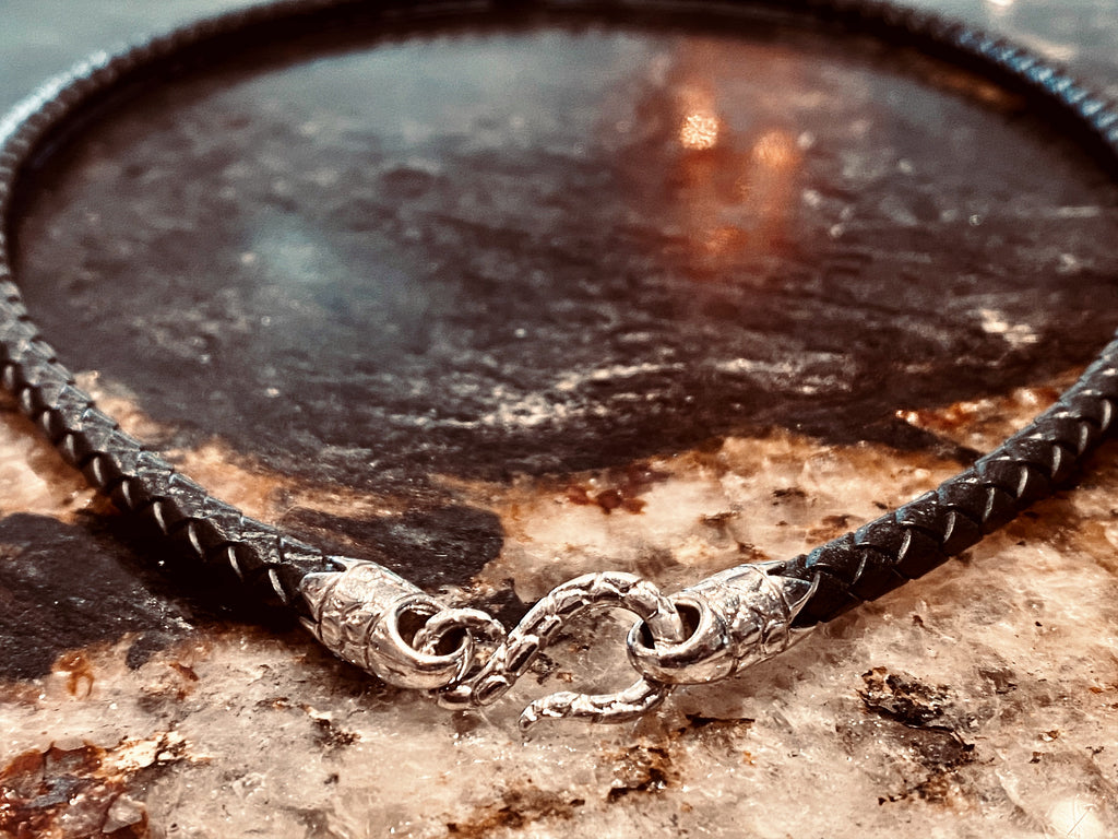 "20"" Black Leather Braided Necklace"