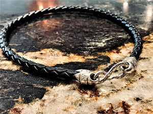 "16"" Black Leather Braided Necklace"
