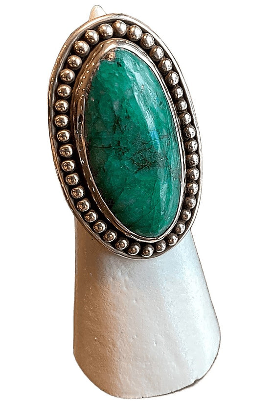 Silver Green Turquoise Ring
